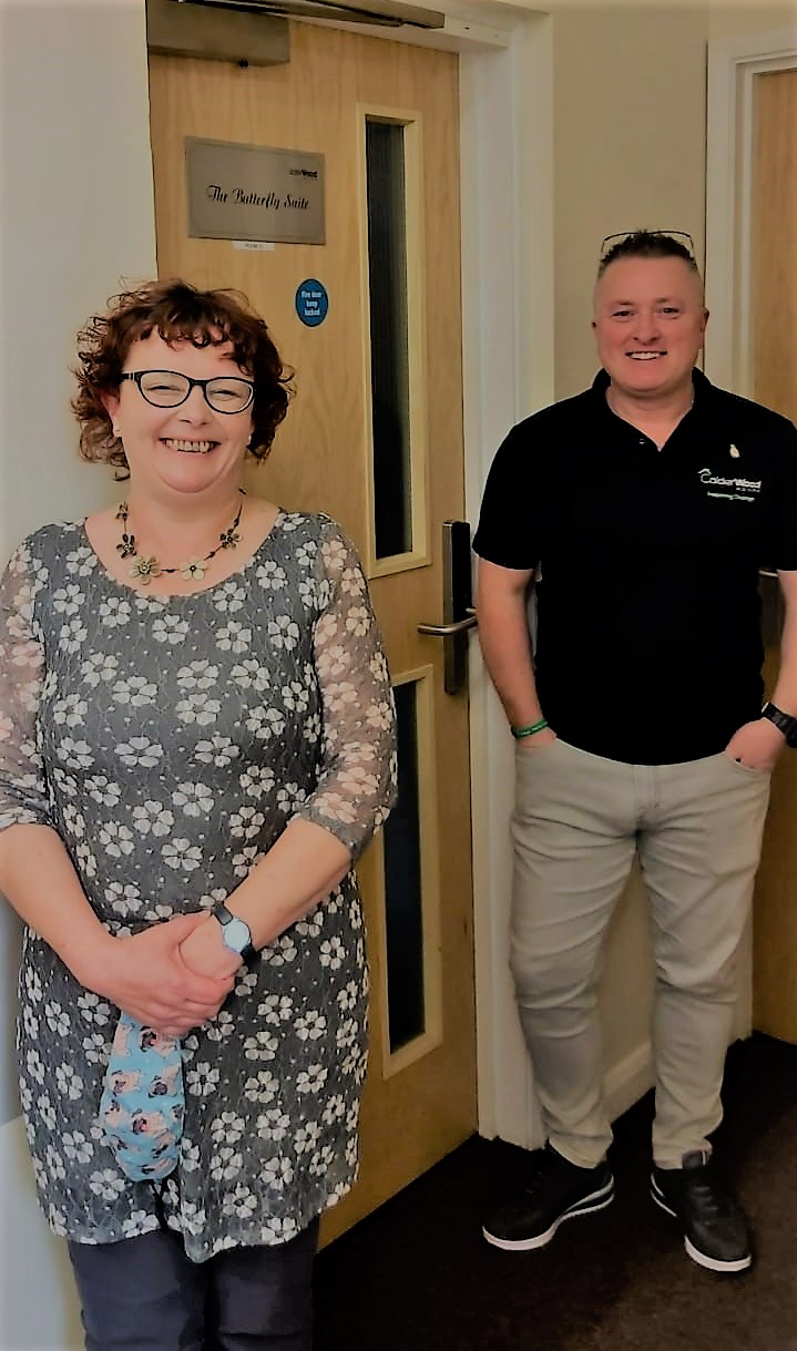 Dianne Richardson sponsors butterfly suite Calderwood House Egremont Housing Recovery with Stephen Pettit