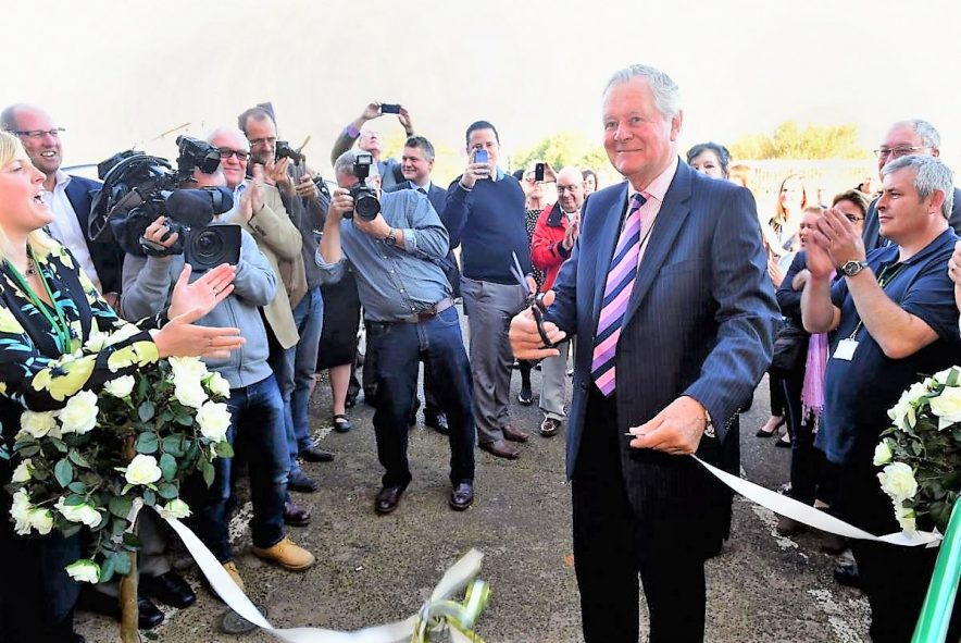 Richard Rhodes Police and Crime Commissioner Cuts Ribbon to open calderwood house