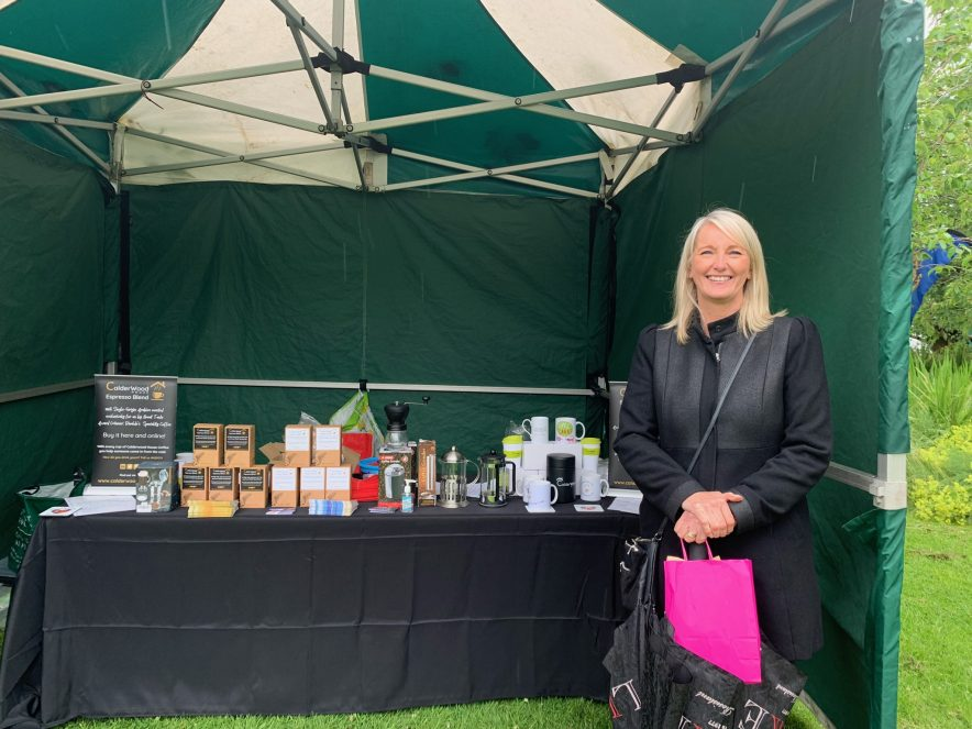 Jenny Brumby Copeland Council visiting Calderwood House Coffee stall