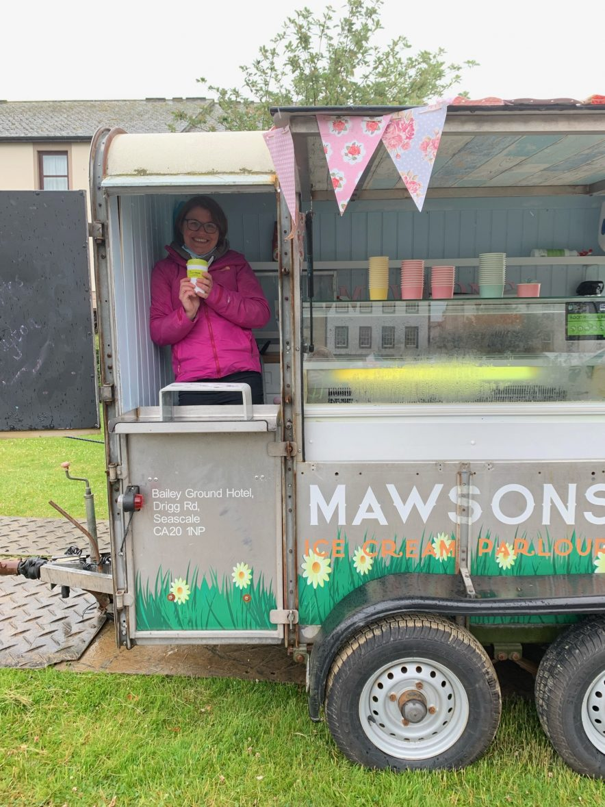 Lizzie from Mawsons Ice Cream warming up with Calderwood House Coffee