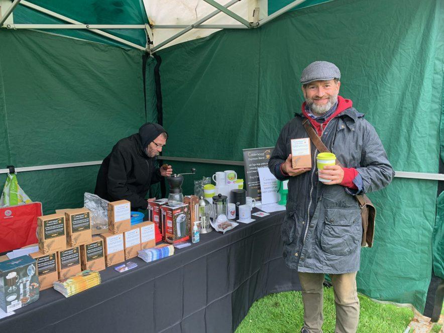 Rob Mitchell enjoying hot coffee Calderwood House